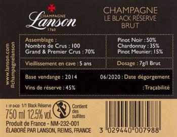 contre étiquette Lanson Black Réserve